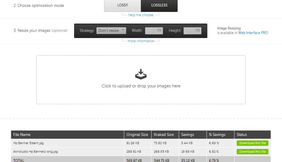 Optimalizace datové velikosti, atin studio blog – Online nástroj Kraken